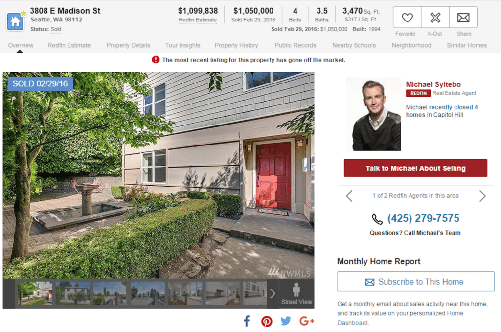 Redfin property page of Rascoff's former property shows a home value estimate of $1