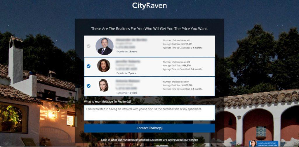 CityRaven_RealtorsSelectionPage
