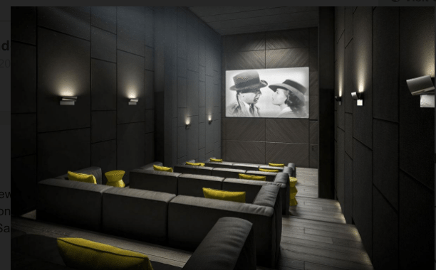 Cityzen Development Group's 158 Front Condos Theatre Room Rendering