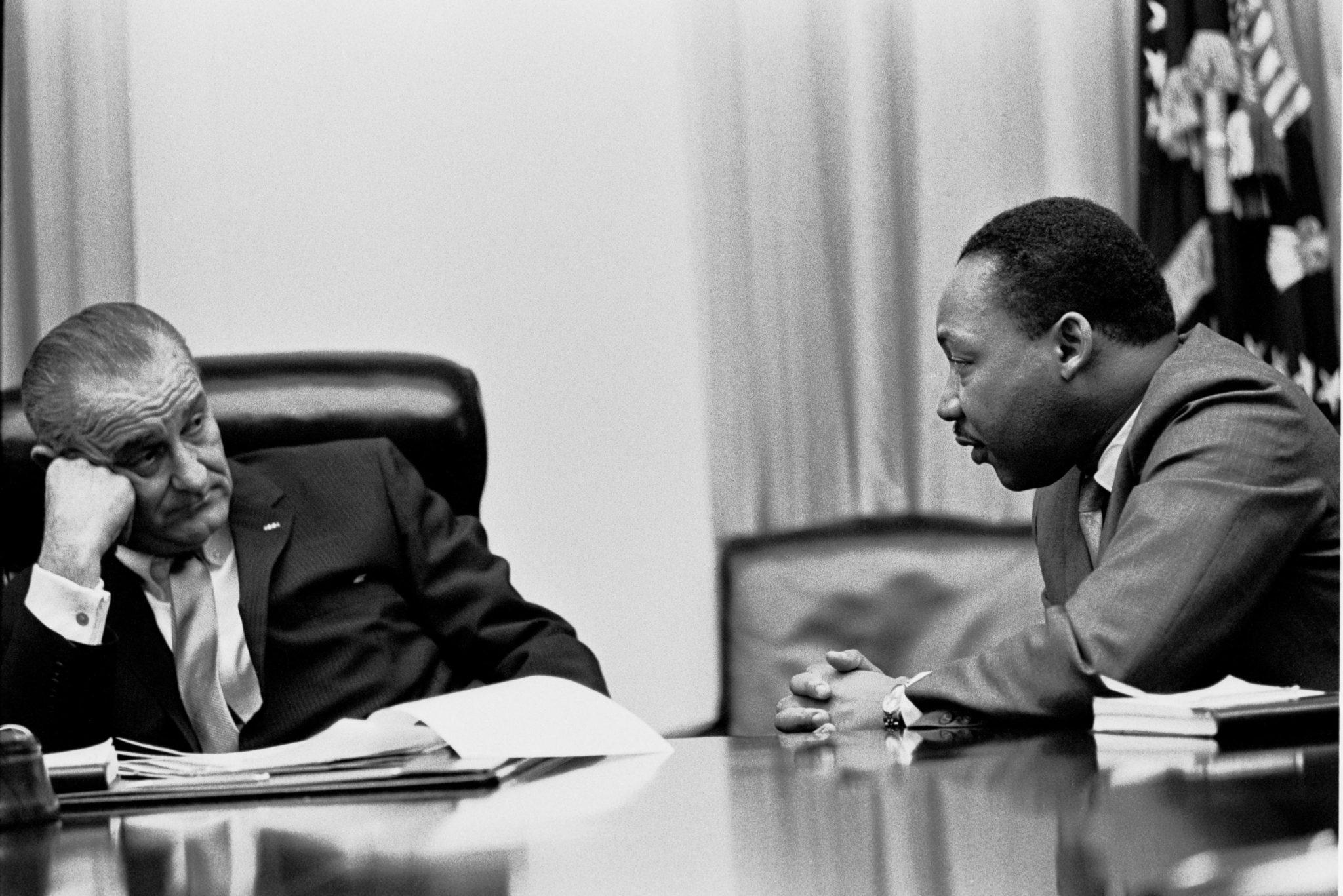 President Lyndon B. Johnson and Dr. Martin Luther King, Jr.
