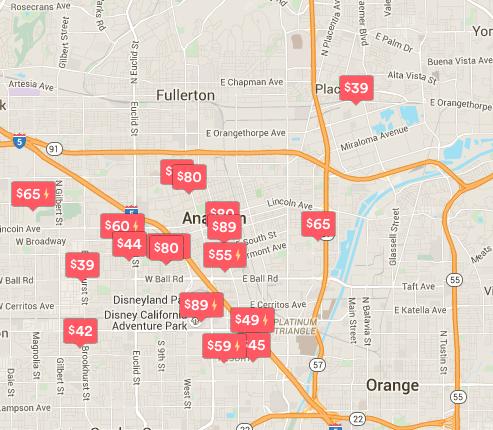 Airbnb screenshot in Anaheim