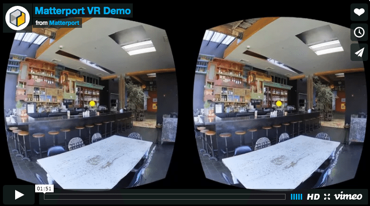 Screenshot from Matterport's virtual reality video.