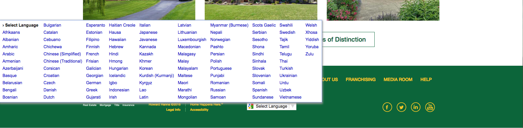 Screen shot of HowardHanna.com homepage language menu.