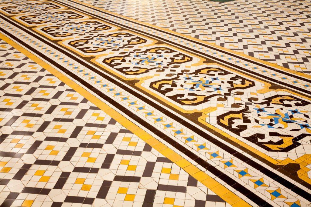 Geometric tile pattern on a floor