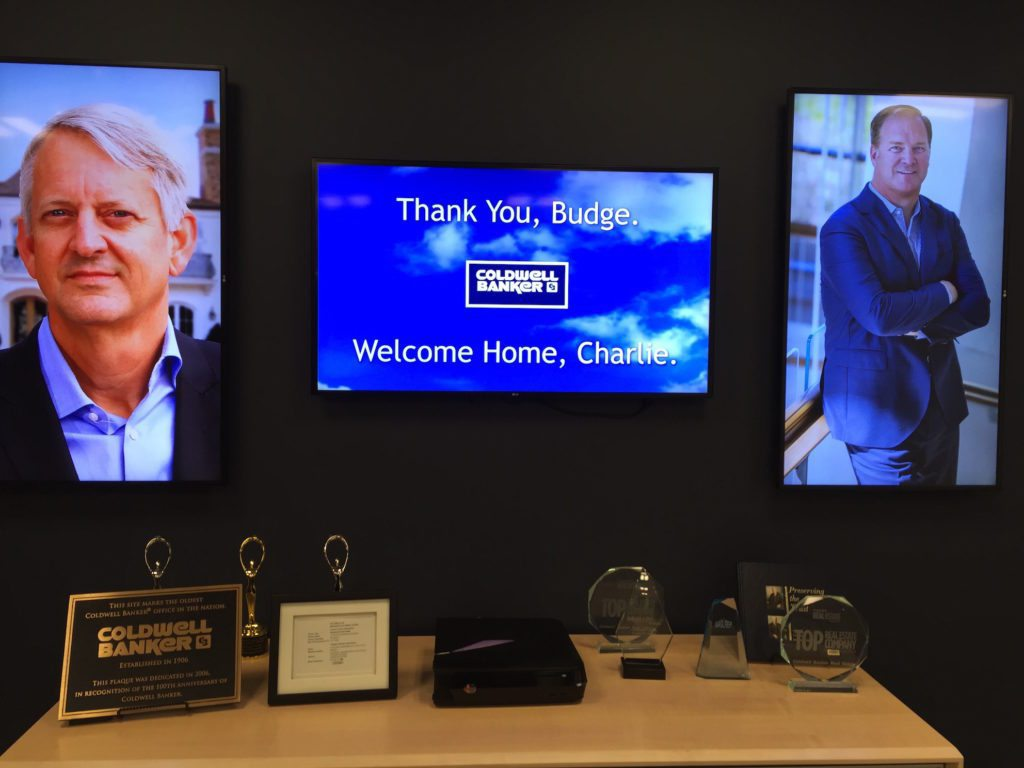 A display greeting Charlie Young on his first day as Coldwell Banker's CEO.