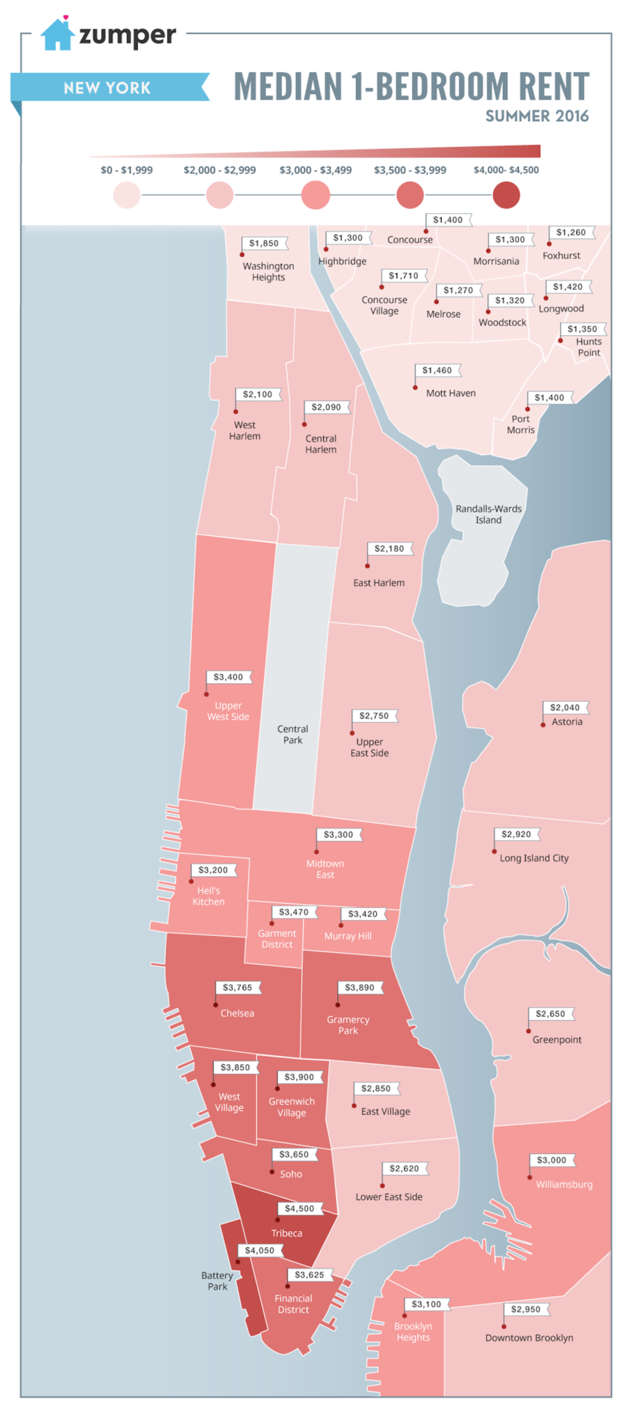 Manhattan one bedroom map