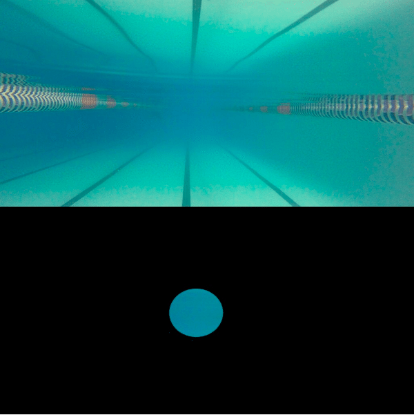 What a swimmer with perfect vision sees in the pool versus what McClain sees.