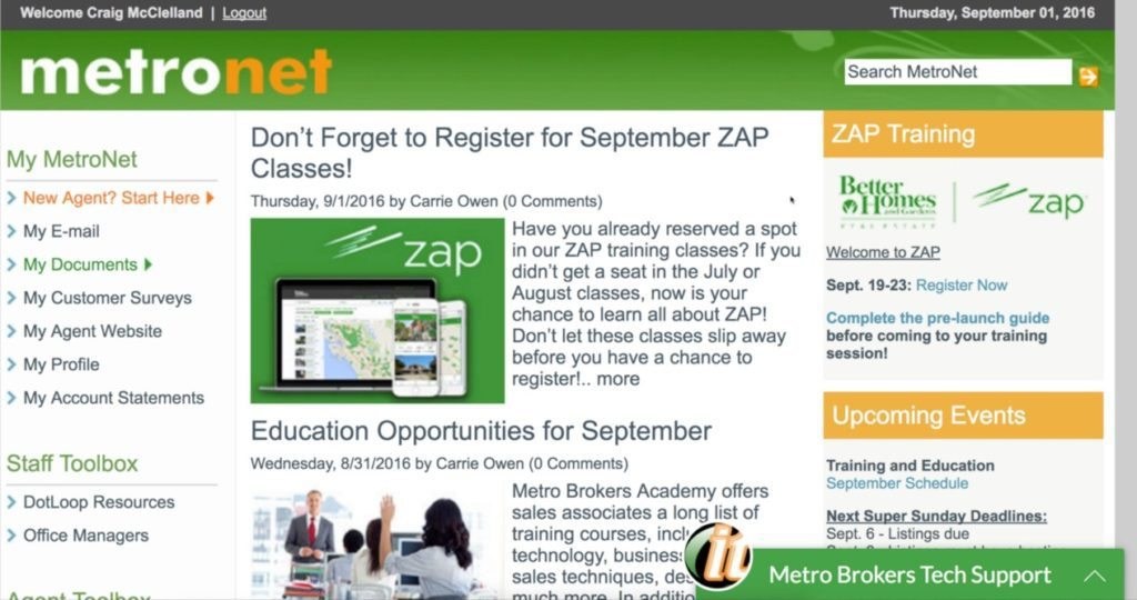 The September Zap class reminder on Metro Brokers' website