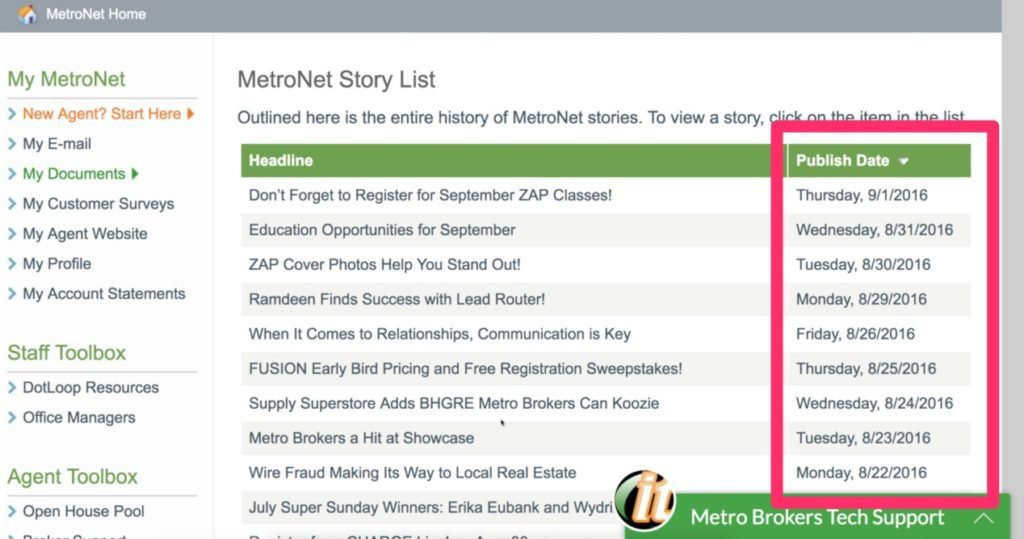 The Metro Brokers' story list