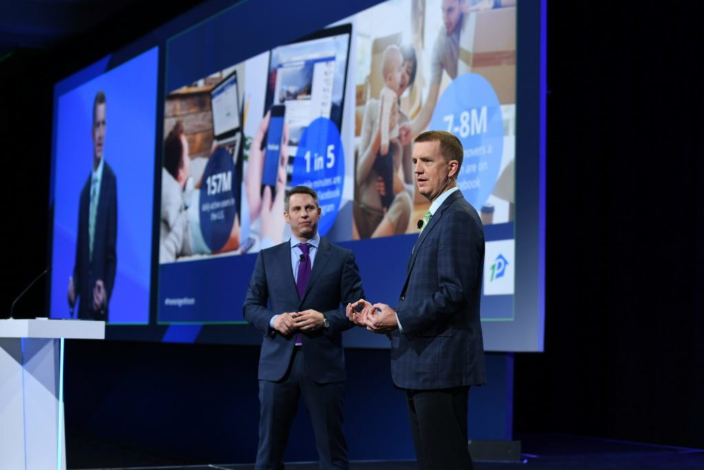 Greg Schwartz and Jerry Canning, Director of Industry at Facebook launching Premier Agent Direct at the Premier Agent Forum.