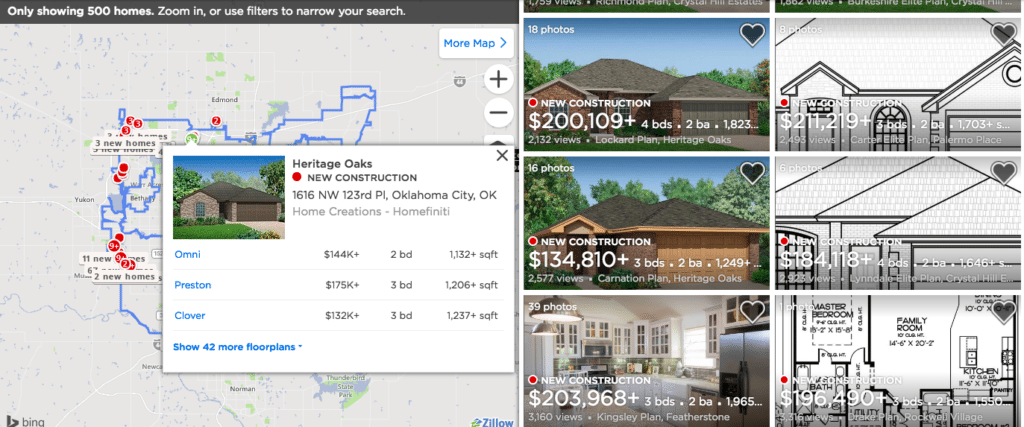 Zillow's lot availability map.