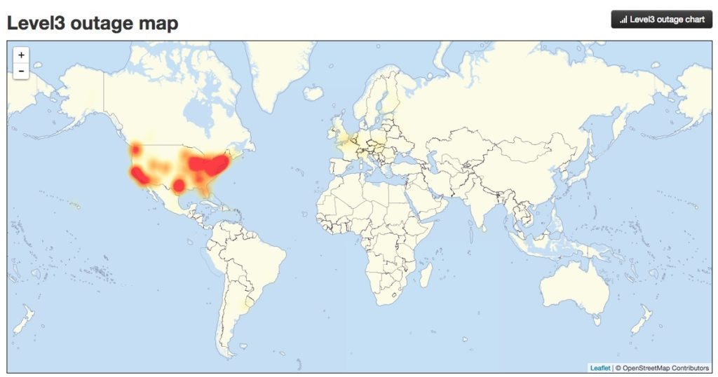 A screenshot of a global outage map taken 12:45 p.m. PDT 10/21/16