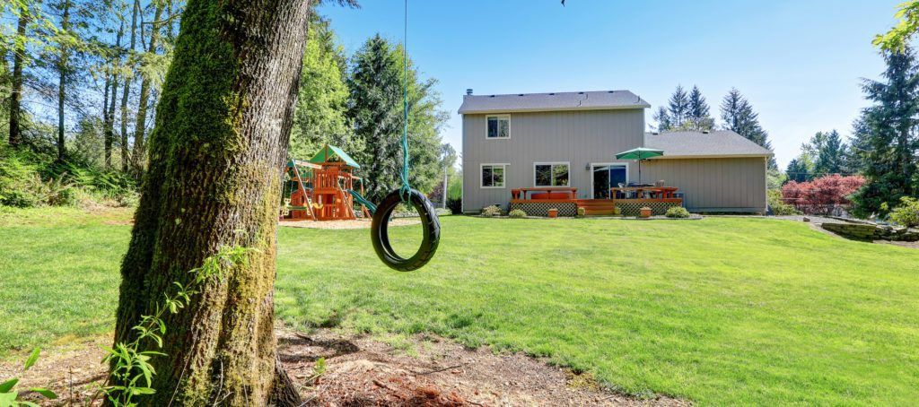 A tire swing and playground behind a home