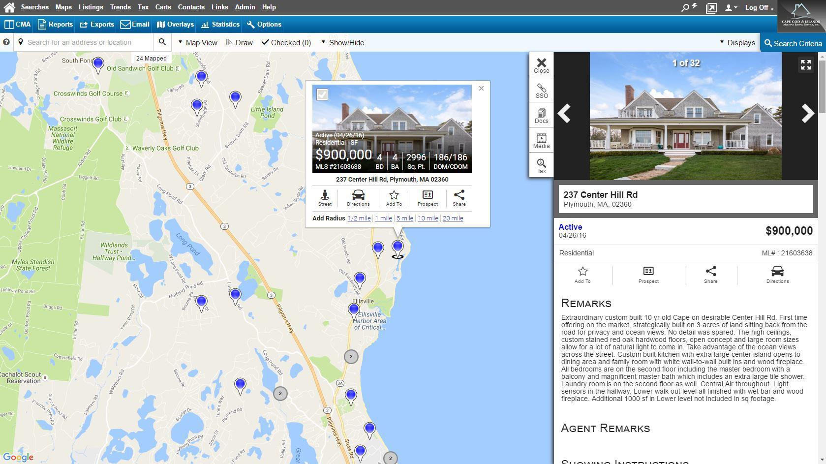 Screenshot of Rapattoni's interactive map search