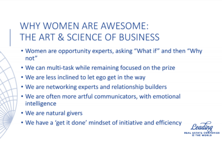 Slide from LeadingRE CEO Pam O'Connor's presentation at the NAR conference.