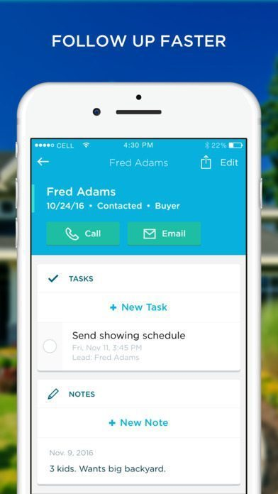 Lead profile page for paid version of Placester mobile app.