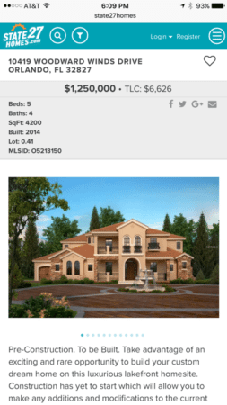 State27Homes.com listing detail page on mobile