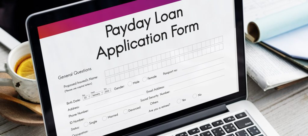 A payday loan application on a computer