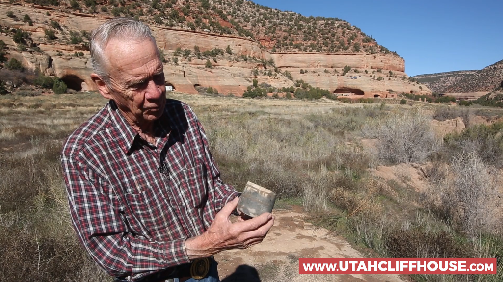 Owner Phil Houghton talks about an artifact on his land. Source: UtahCliffHouse.com.