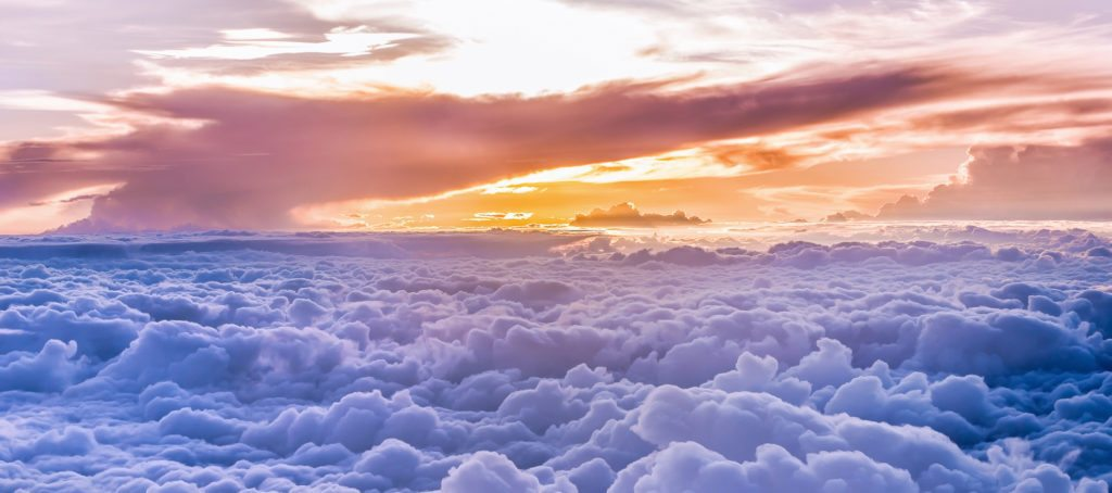 A bird's eye view of the clouds and sunrise