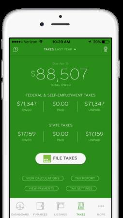 A screenshot from the ProfitDash tax dashboard