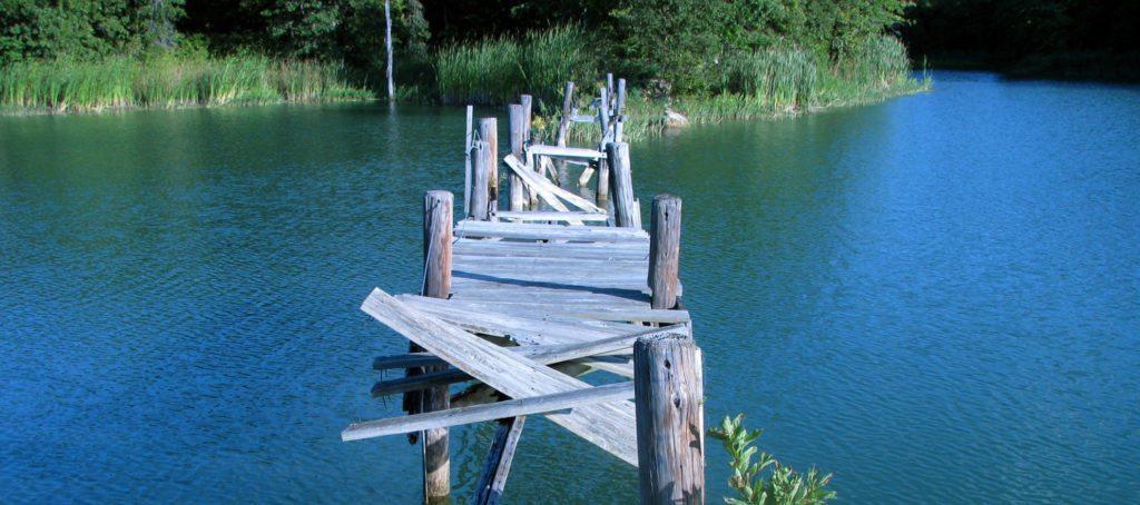 A rickety bridge with gaps