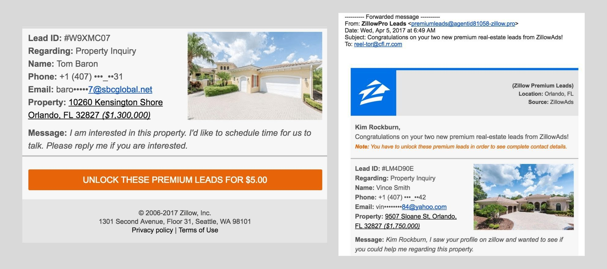 fake zillow lead scam