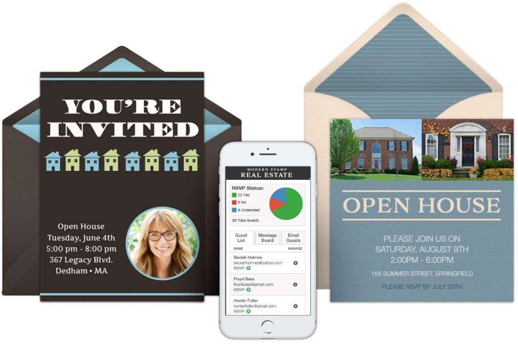 custom digital invites made for real estate introducing modern stamp
