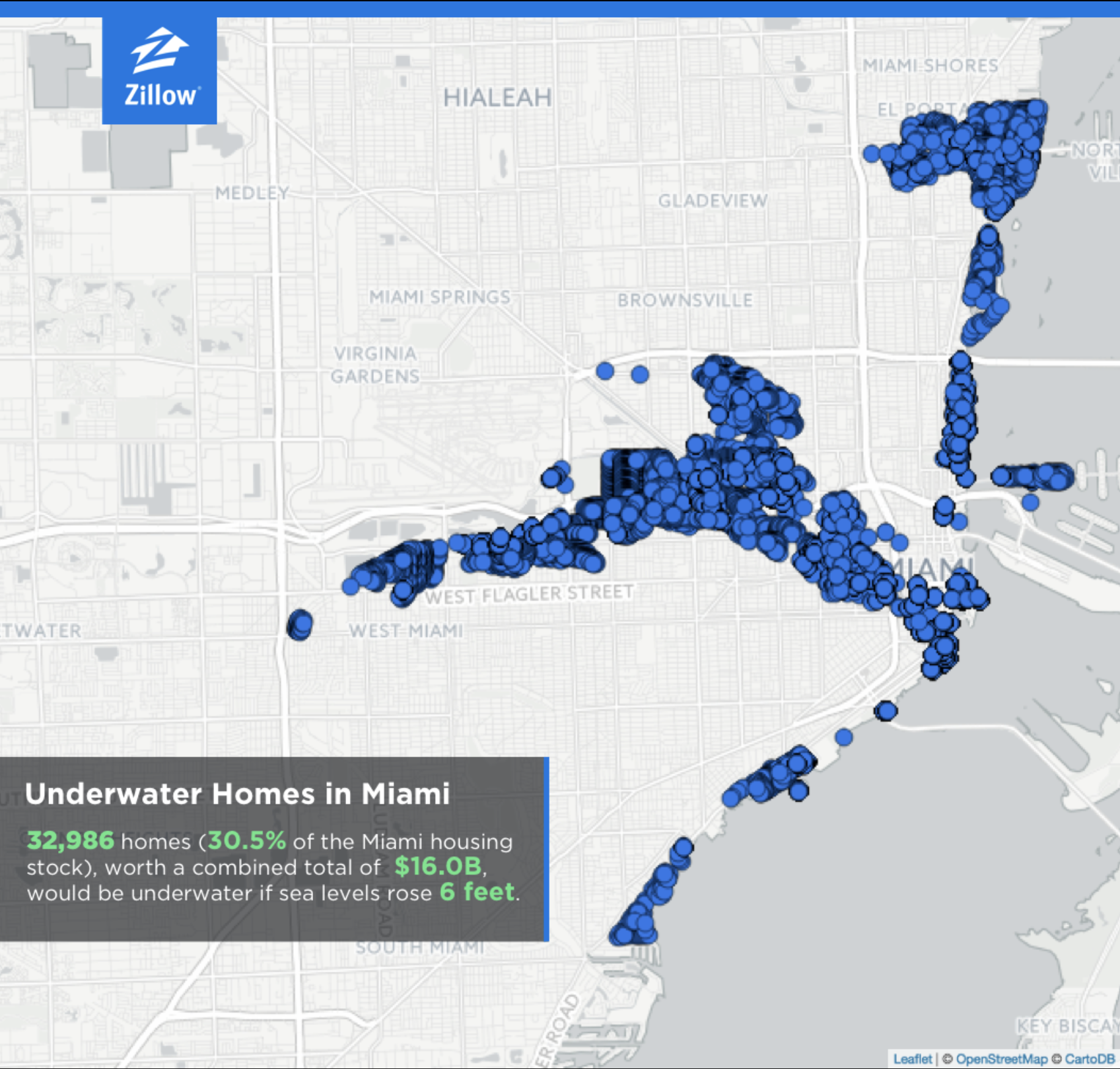 Zillow seal-level rise map