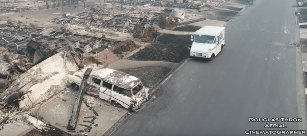 Haunting drone footage captures scorched Santa Rosa