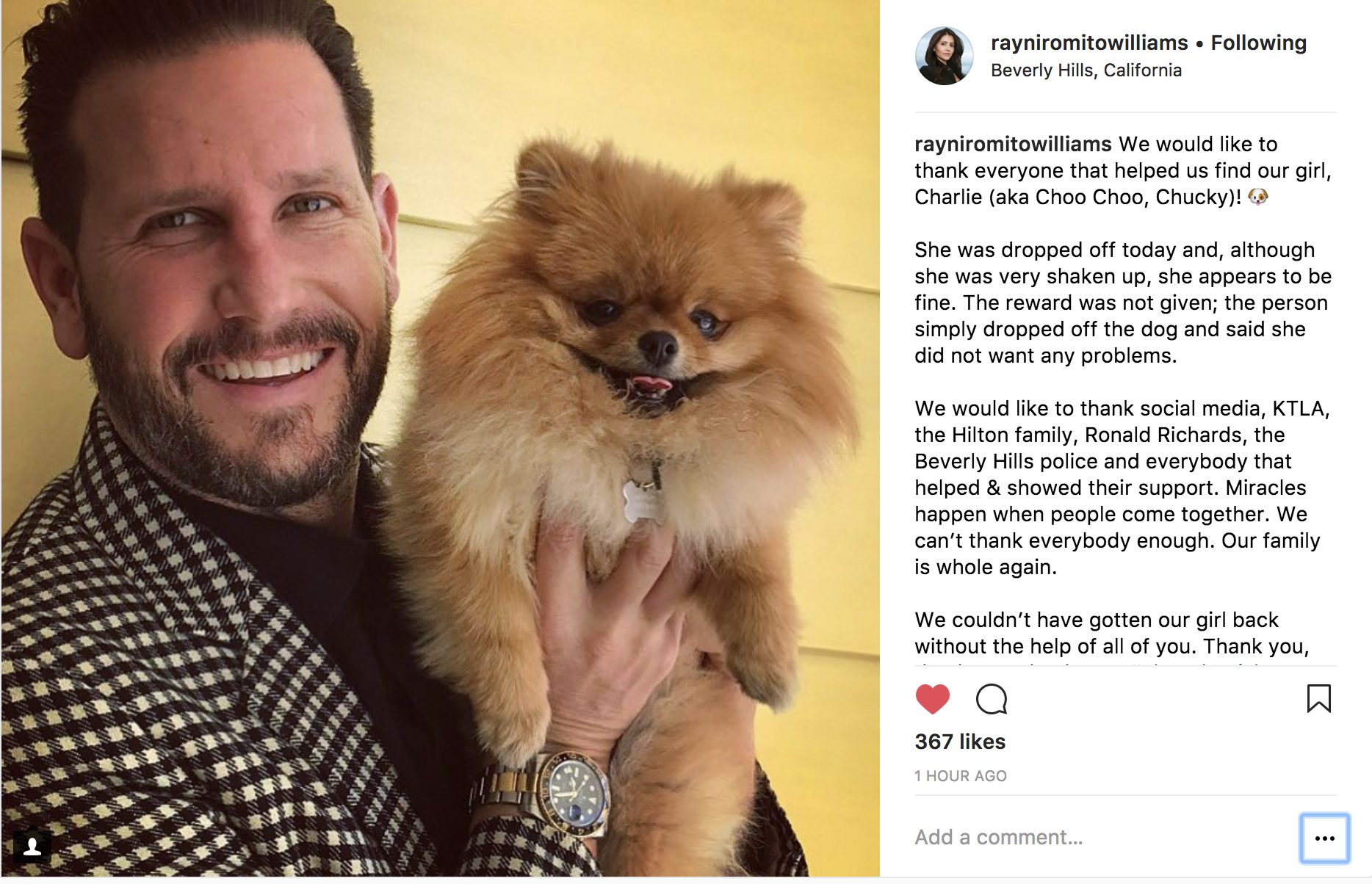 Rayni Romito Williams recovered dog post on Instagram
