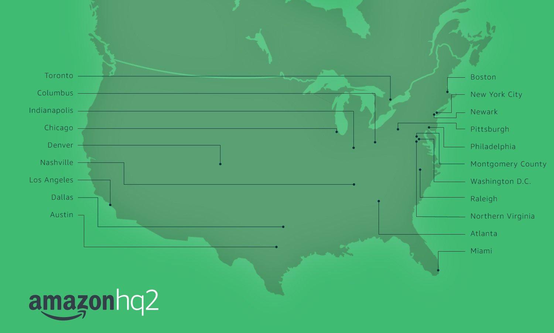 Amazon HQ2 20 finalists list