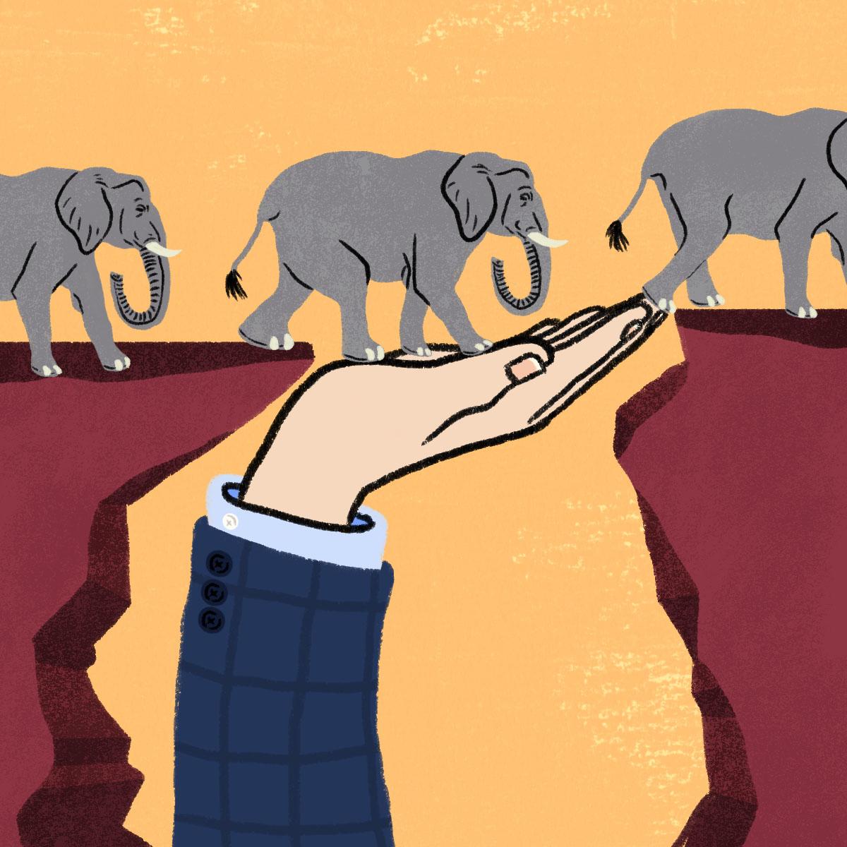 GOP elephants and hand