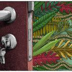 Cool psychedelic door and keys
