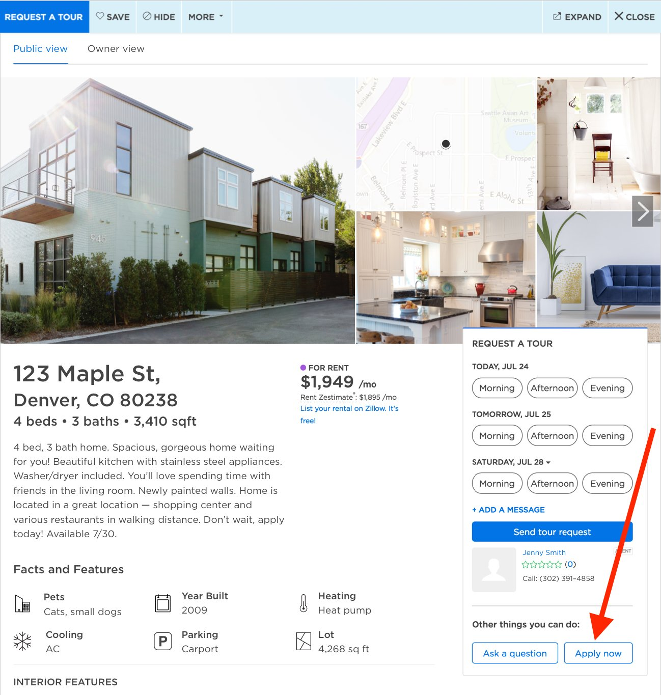 Zillow's 'Apply Now' button for apartment rentals
