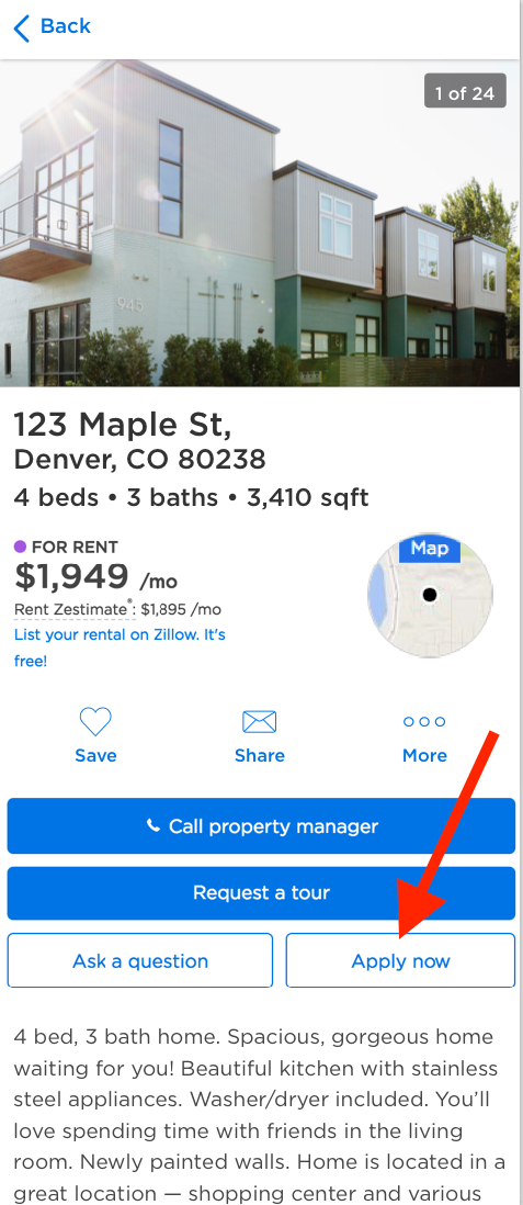Zillow's 'Apply Now' button on mobile