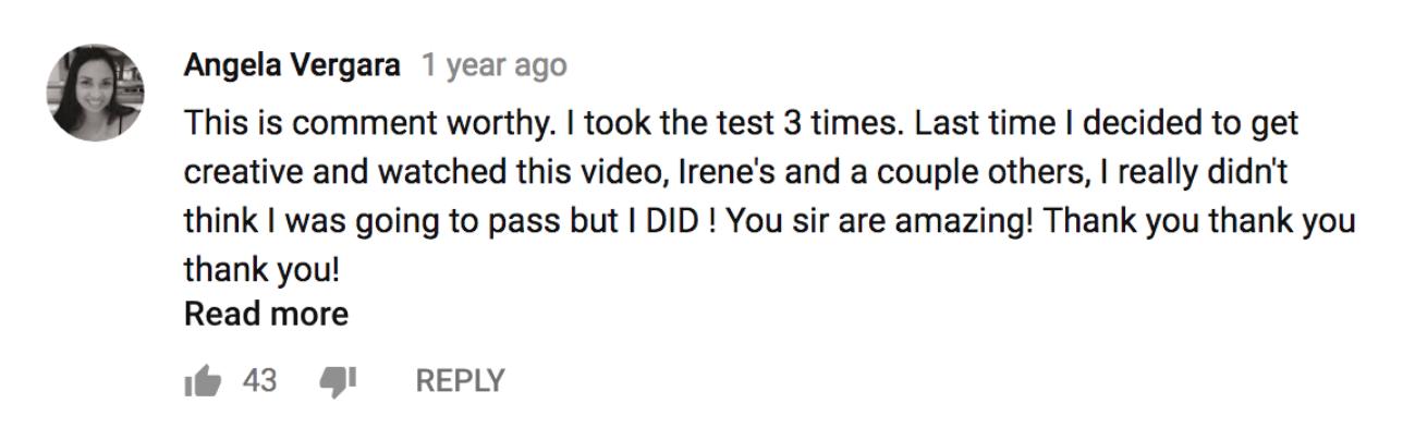 Angela Vergara's positive review of Agent Prep's video.