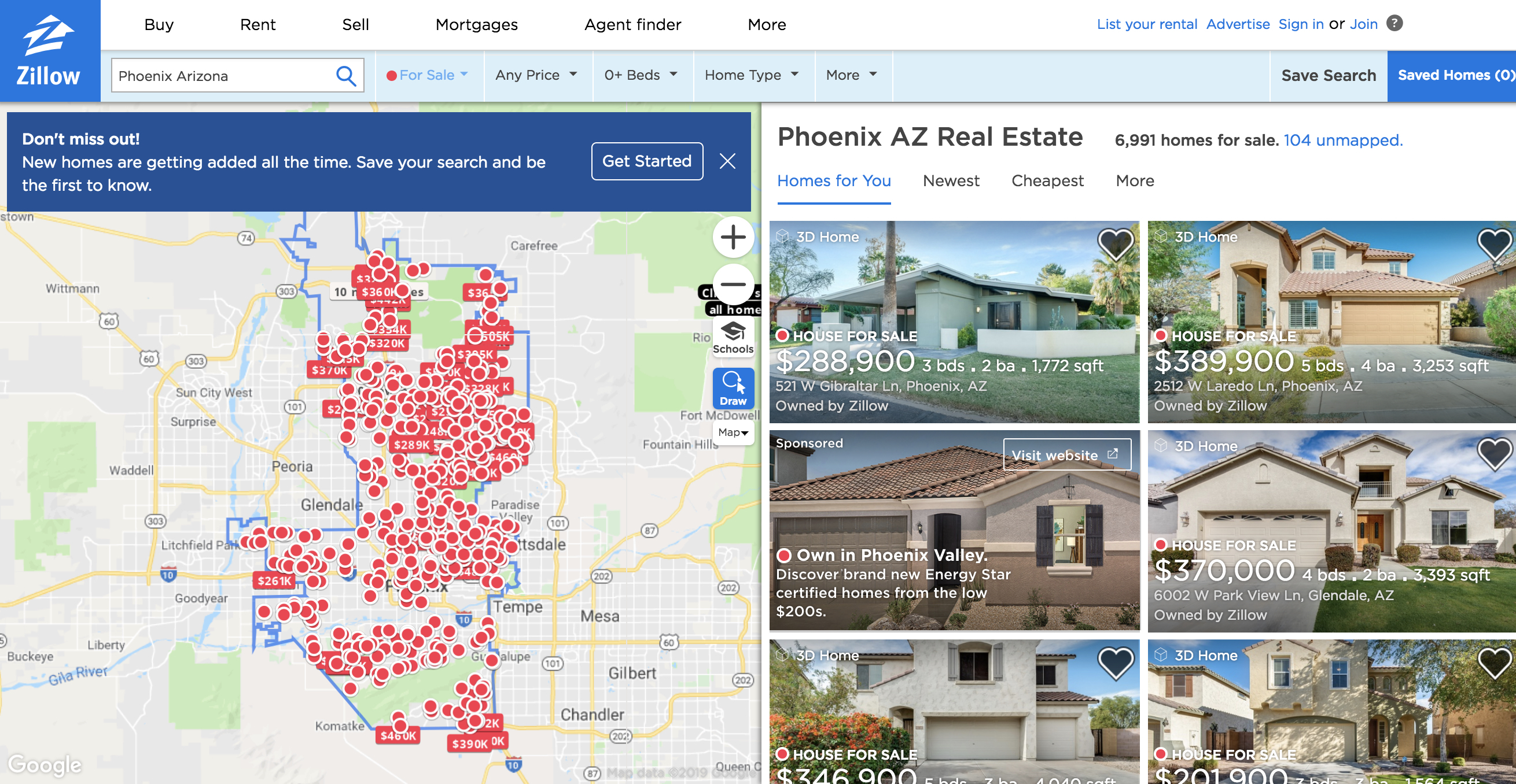 Zillow Offers home search