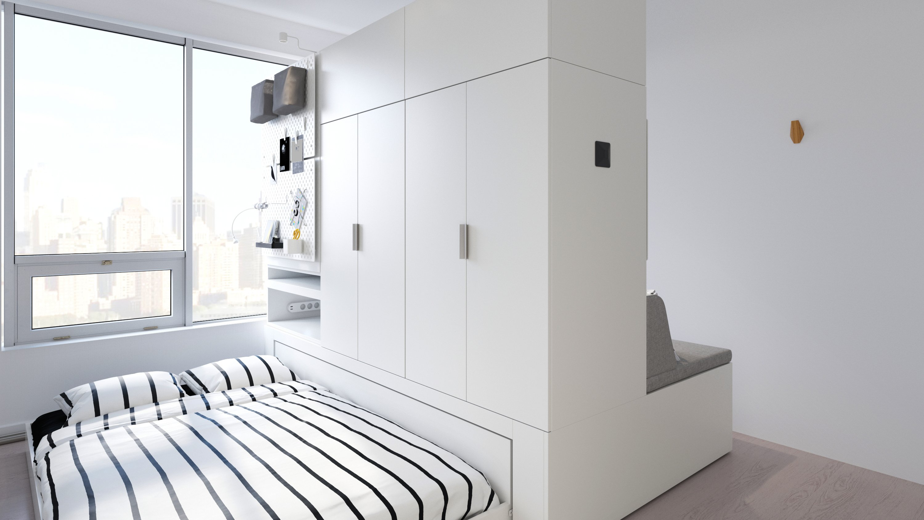 Ikea Rognan robotic furniture highlighting the bed and closet space