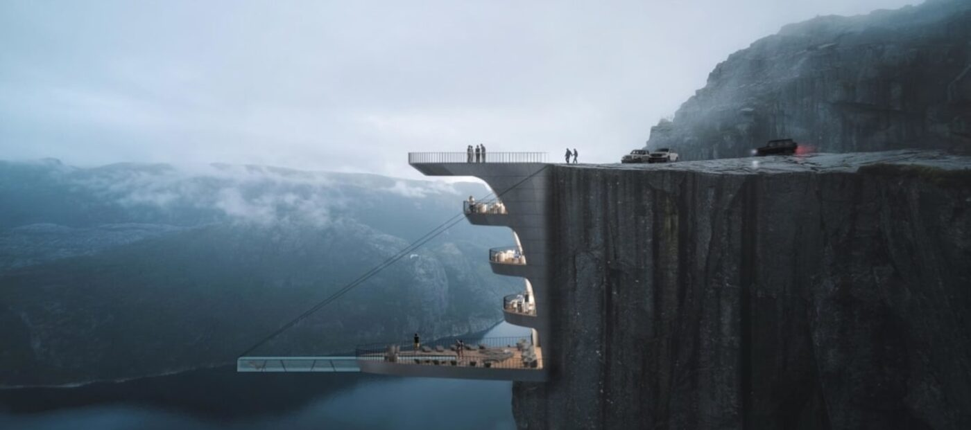 Death-defying new hotel and pool would hang over a cliff in Norway