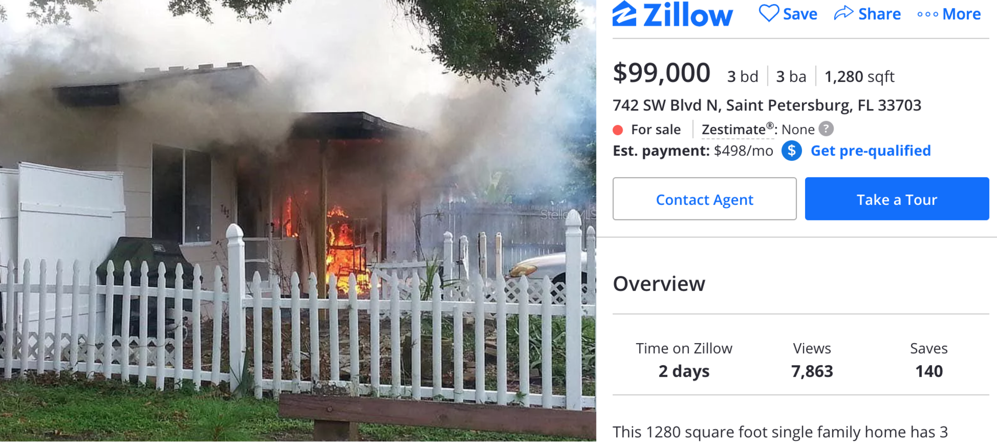Fire sale? Zillow listing features Florida home engulfed in flames