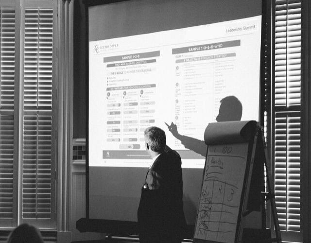 Sales presentation on screen