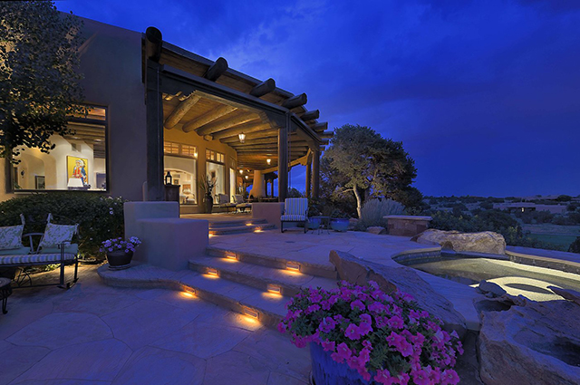 Luxury home exterior at night