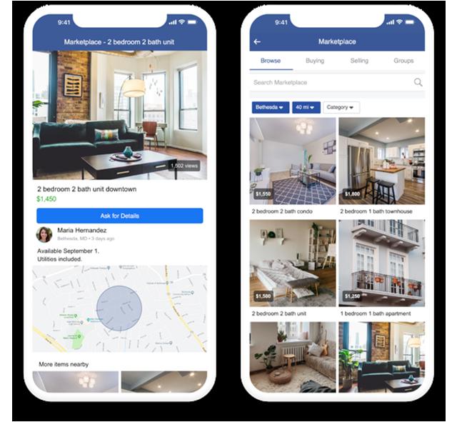 screenshots of facebook marketplace listings