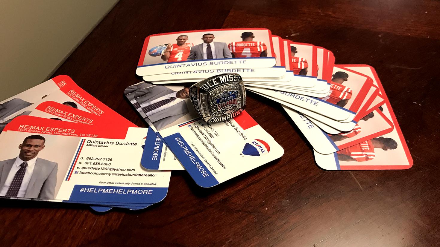 Quintavius Burdette's busines cards and football ring