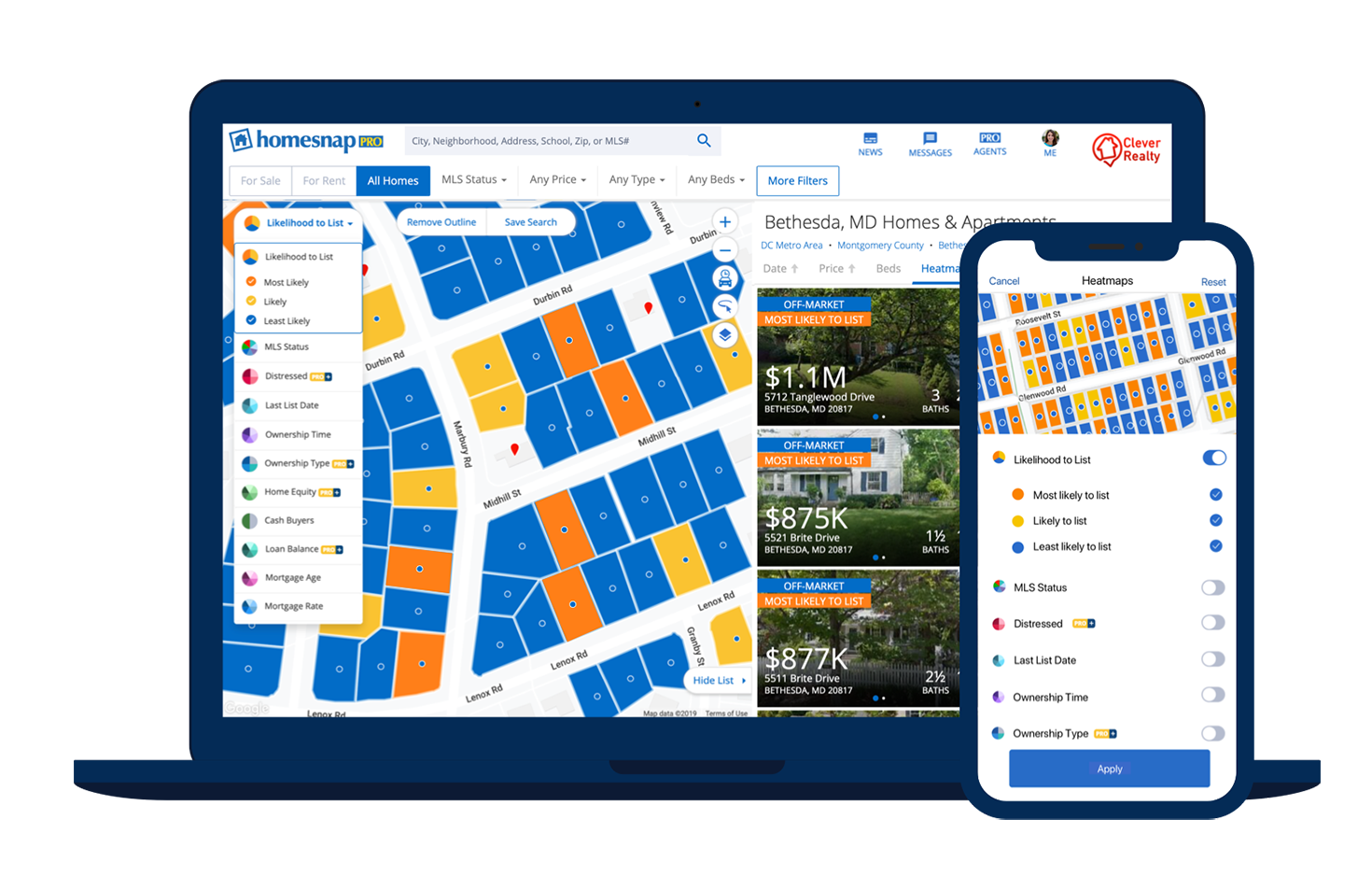 Homesnap pro Likelihood to List tool on a laptop and mobile device