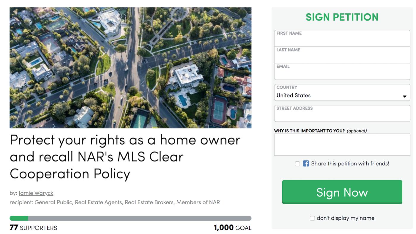 Petition seeks to overturn NAR pocket listing ban