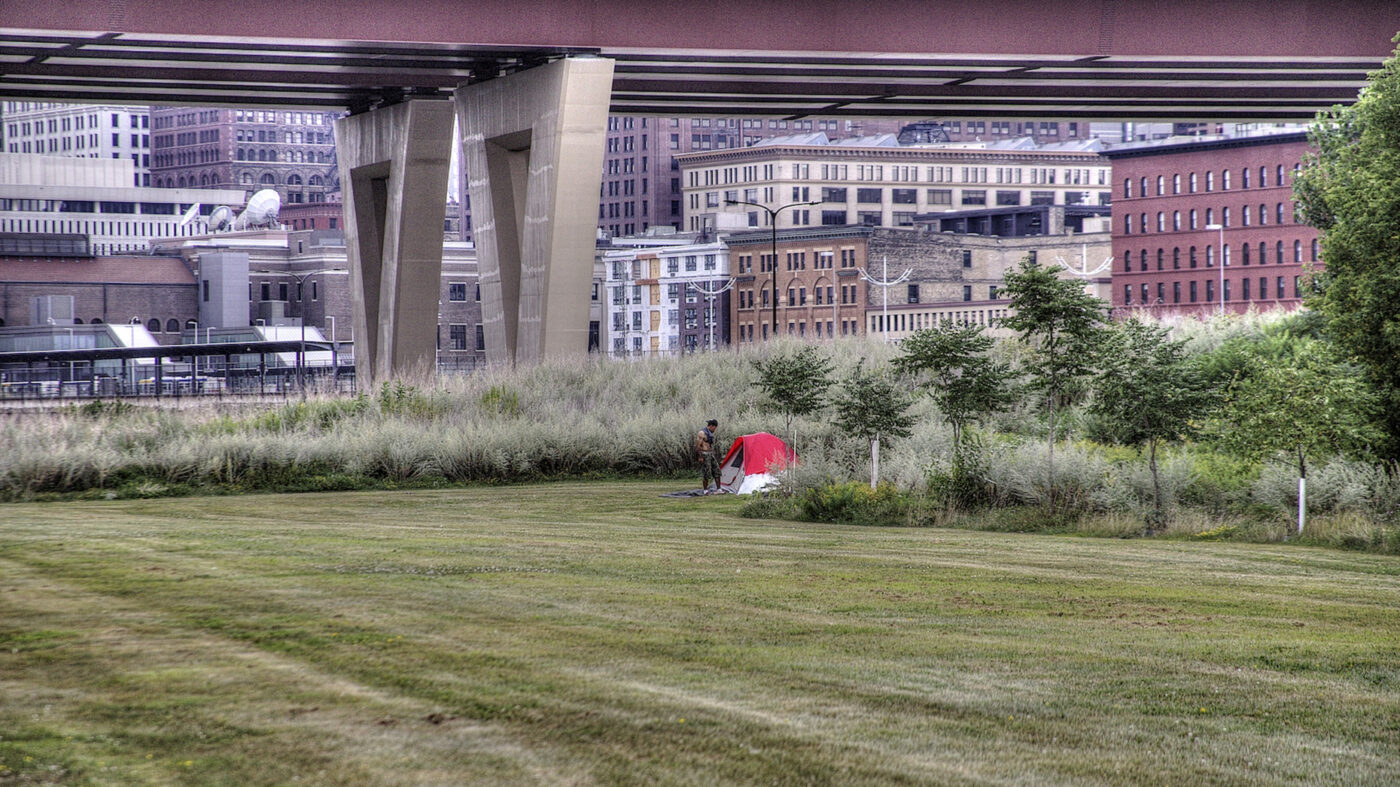 Free camping in the city, or lack of affordable housing options?