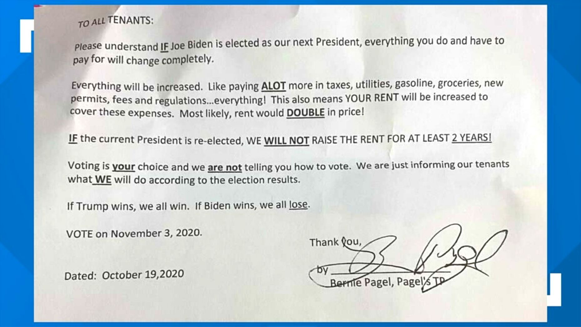 Landlords threaten to raise tenants' rent if Biden wins in November
