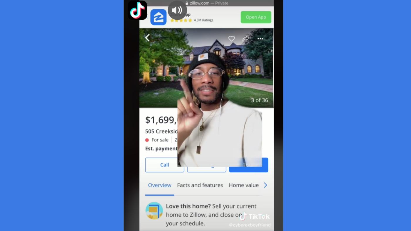 TikTok user mocks multimillion-dollar Zillow listings in viral videos